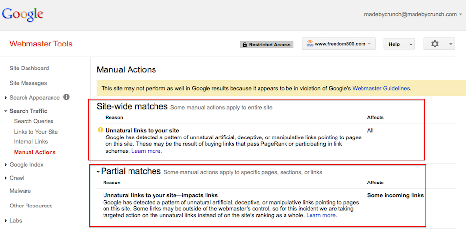 Google Manual Action Penalties