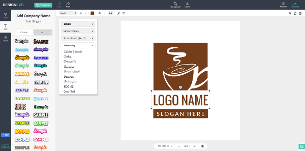 Next, Enhance Your Logo Design with Shapes and Fonts